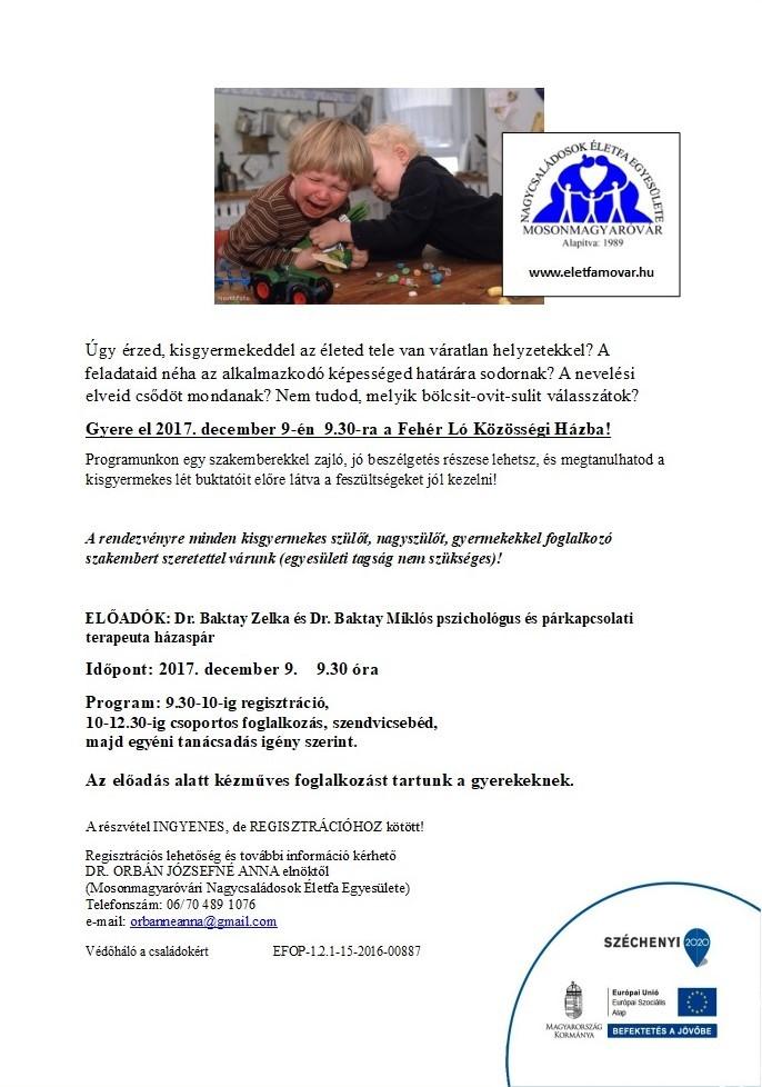 Meghívó, Mosonmagyaróvári Nagycsaládosok Életfa Egyesülete