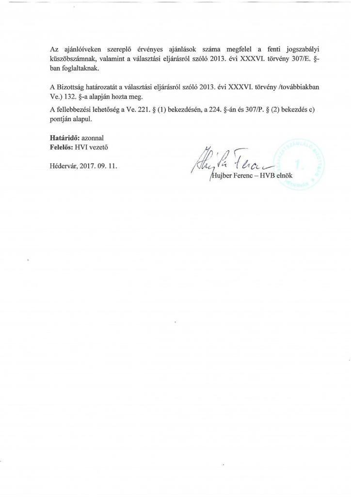 Idõközi Választás HVB határozat polgármester jelöltek