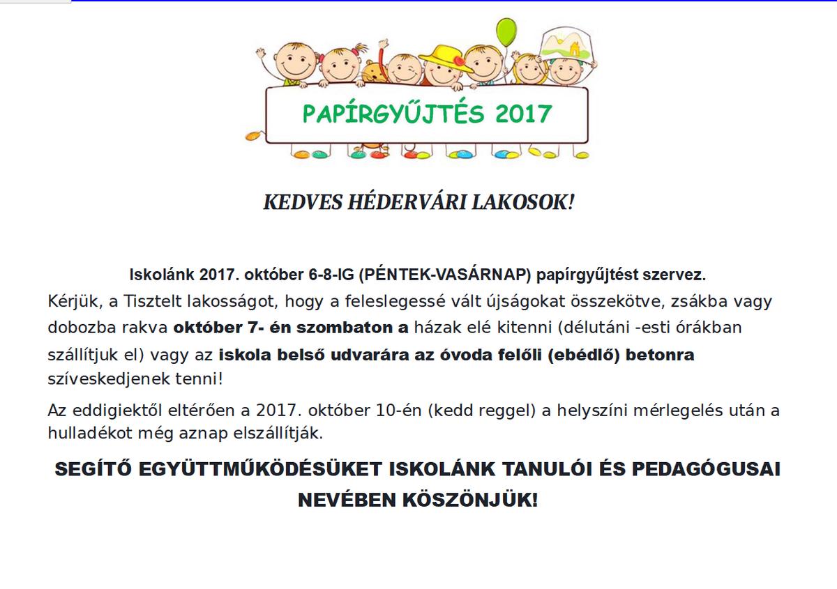 Papírgyûjtés 2017
